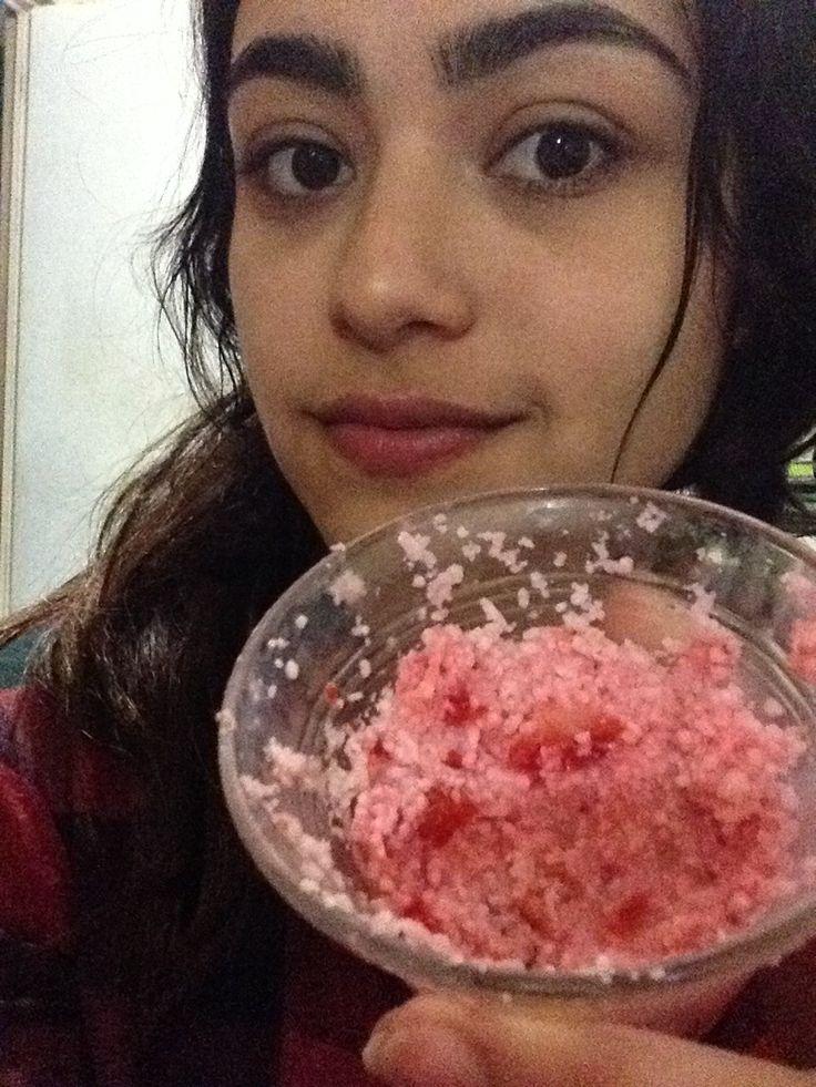 Mascarilla aclarante de piel 1fresa 1limon Arroz molido Limpiar con leche