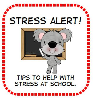 Tips to help with stress at school plus free printable....This is a wealth of info for teachers to deal with stress right before state testing, and when the nasty weather is keeping the kids indoors instead of out and all of the other little stress inducing moments around that most stress-filled time of the year~