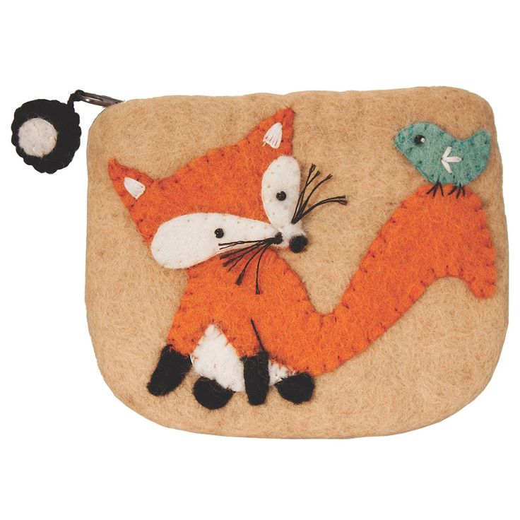 This fair trade fox coin purse is made with 100% natural wool and non-toxic, azo-free dyes. The hand felting and applique details on this purse is done by a women's felting business in Kathmandu, Nepa