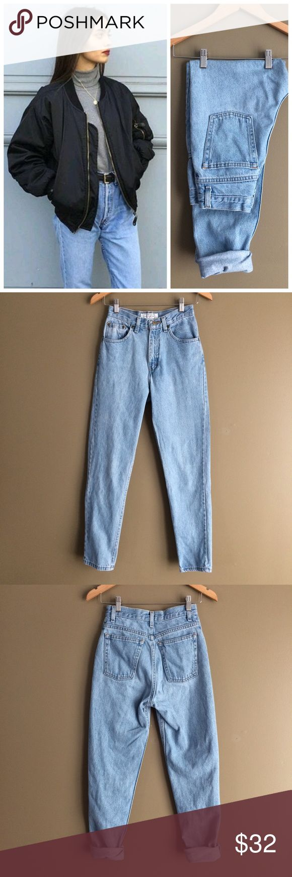 """Vintage high waisted mom jeans For sale is a pair of high waisted mom jeans. Made by Arizona and light blue wash.  Size tag is so faded I cannot read it so PLEASE refer to measurements to ensure proper fit! Jeans are in great condition.  Tapered style. Measurements are:  12.5"""" waist, 16.5"""" hips, 11"""" rise, 29"""" inseam, 5.5"""" leg opening and 39.5"""" length.  Always open to offers. Thanks for looking! . *Model not wearing actual jeans for sale.  Inspiration only. Arizona Jean Company Jeans"""