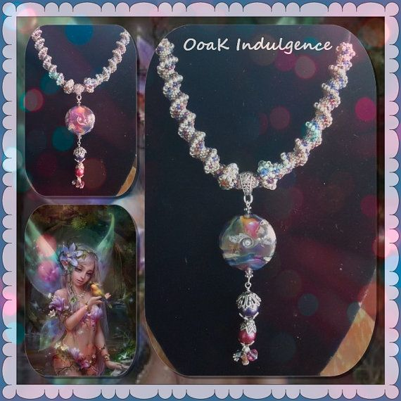 Firesong Fantasy necklace of lampwork and beaded by OoaKIndulgence