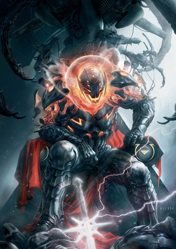 Ultron: Created by Henry Pym (the first Ant-Man) to be a technological landmark, he soon intellectually surpassed Pym, and eventually fought the Avengers after organizing the Masters of Evil. He has clashed with the Avengers numerous times, and is currently waiting to conquer the Earth.