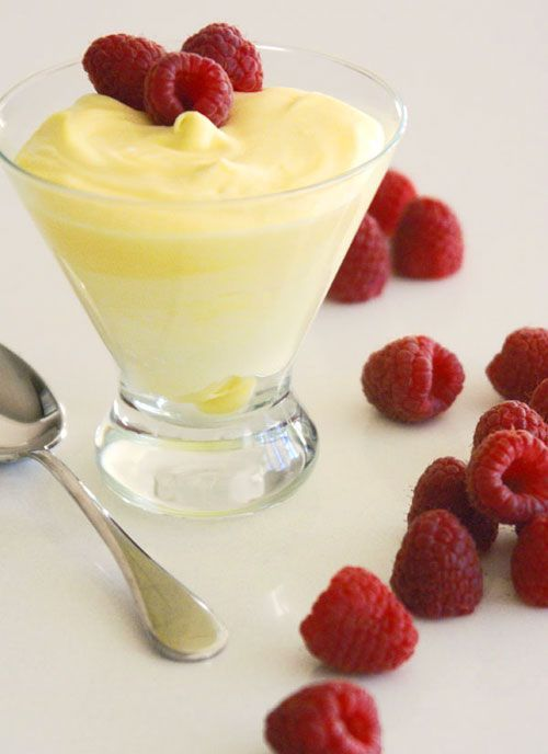 Lemon Mousse! Made by folding lemon curd into whipped cream.This would be great in mini tart shells!