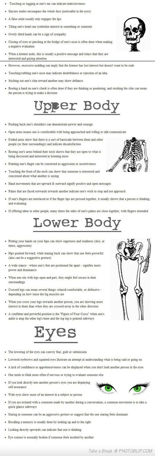 Body Language Cheat Sheet by KaleighS