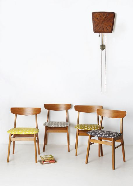 moms chairs reupholstered w/ marimekko leftovers screen printed could look like this. (Skinny laMinx Solid Orla chairs by skinnylaminx, via Flickr)