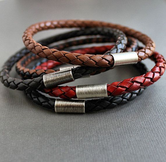 Three Braided Leather Stacking Bangle Bracelets Mix or Match