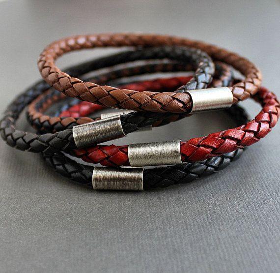 Three Braided Leather Stacking Bangle Bracelets Mix or Match