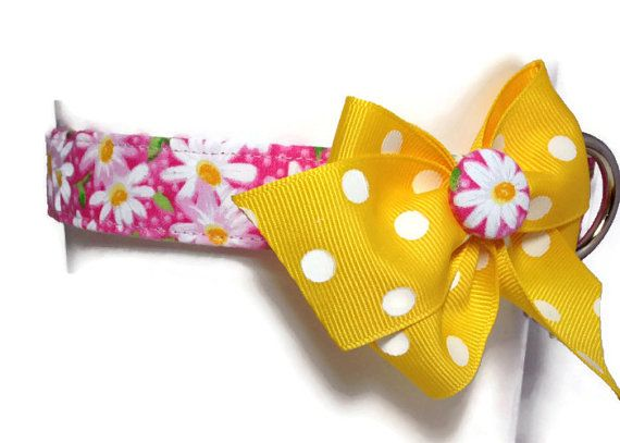 Pink Daisy Dog Collar size Large by jeanamichelle on Etsy, $17.00