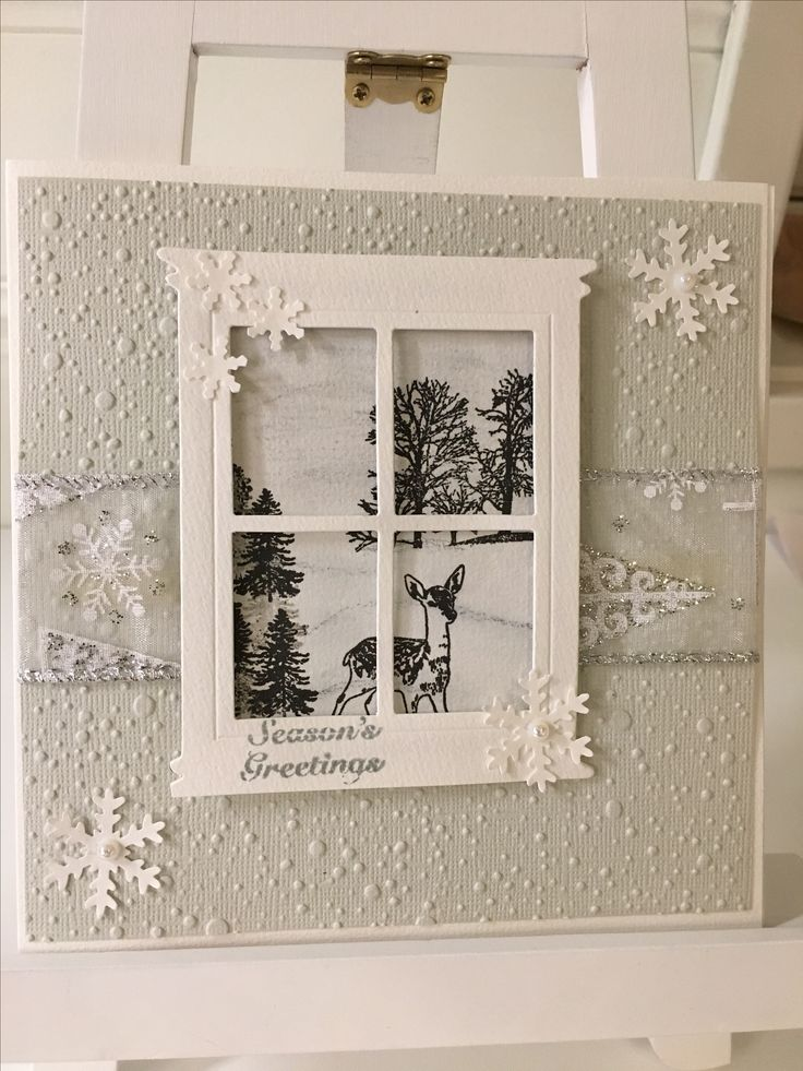Christmascard, diecutting the window and stamping the image inside