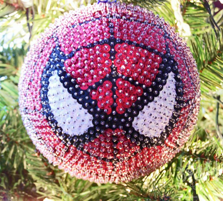 Spiderman Sequined Christmas Ornament. $30.00, via Etsy.