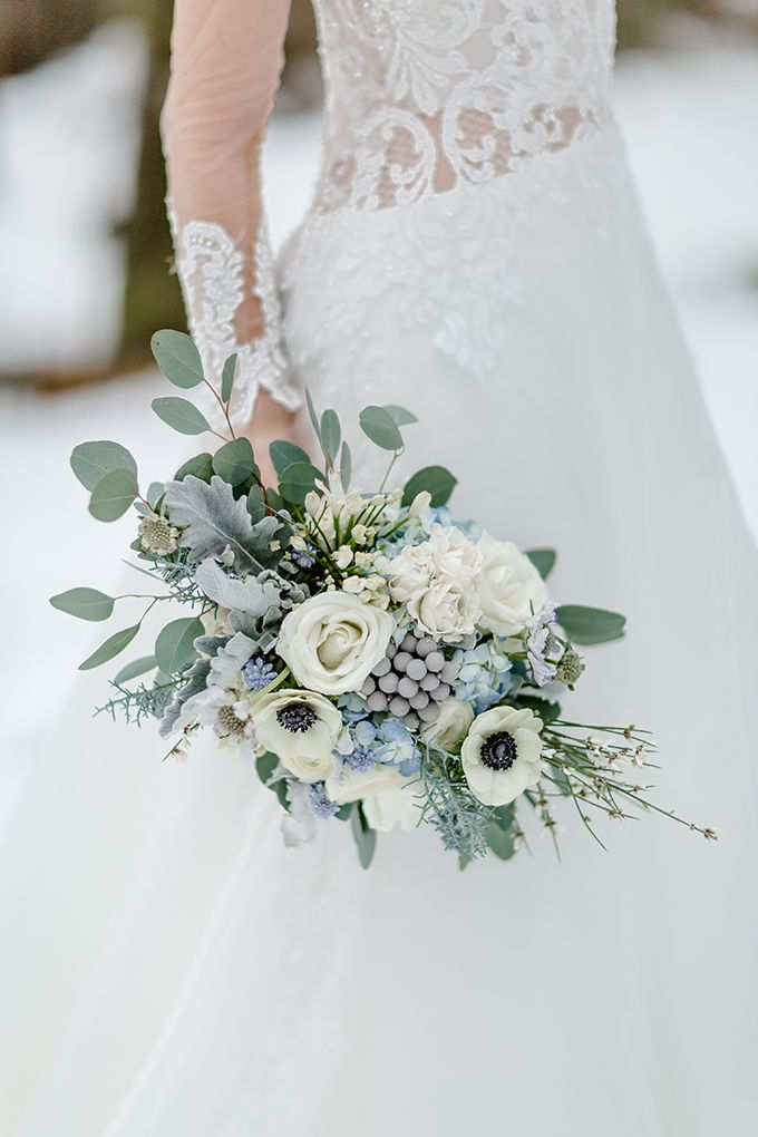 Icy Blue Winter Wedding Ideas Simply By Tamara Nicole Glamour Grace Winter Wedding Flowers Blue Wedding Bouquet Winter Bridal Bouquets