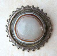 Antique Victorian Large Raised Target Agate Bullseye Brooch.