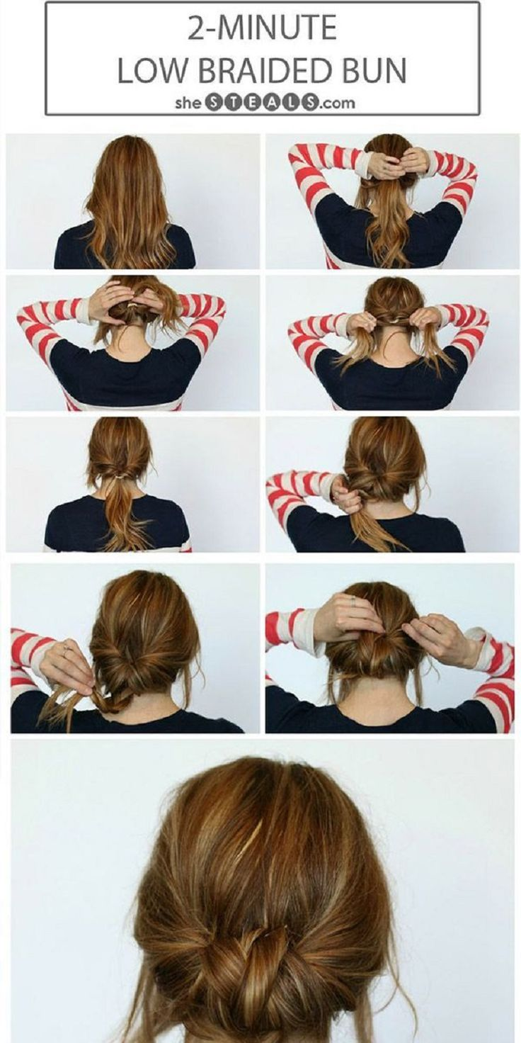 2-Minute Low #Braided #Bun - 13 Easy #Tutorials to Look #Polished and #Professional at Work | GleamItUp