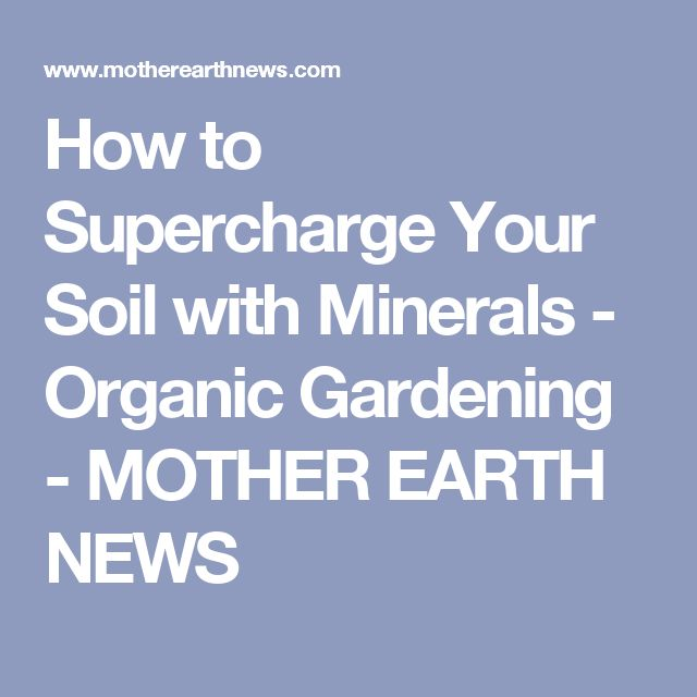 How to Supercharge Your Soil with Minerals - Organic Gardening - MOTHER EARTH NEWS
