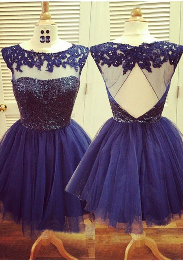 Cute Sequin Round Neck Open Back Short Mini Tulle Prom Dresses Homecoming Dresses (ED1051)