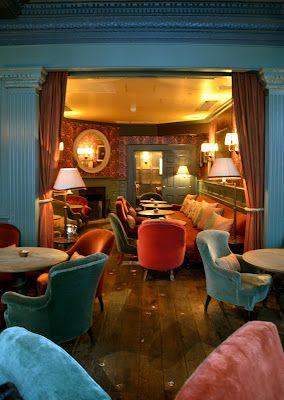 velvet chairs - Dean Street Townhouse restaurant  (photo by Lisa Borgnes Giramonti.)