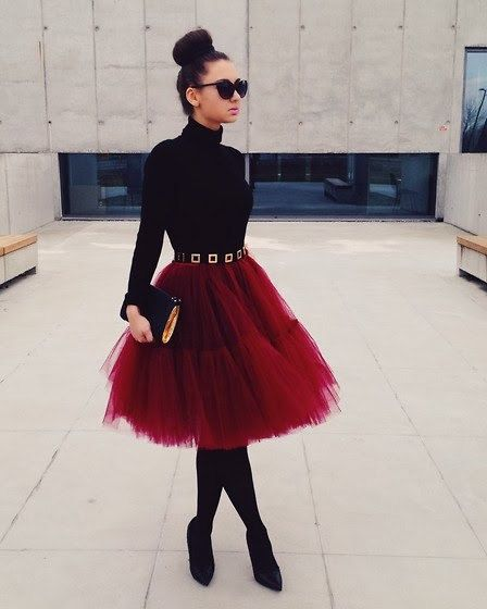 Red Burgundy Fluffy Full Layered Petticoat by Welcometoroyalty