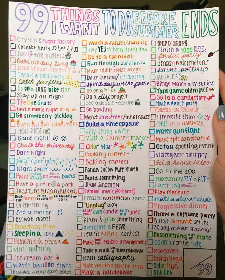 99 Dinge, die zu tun sind, bevor der Sommer zu Ende geht   – Unless