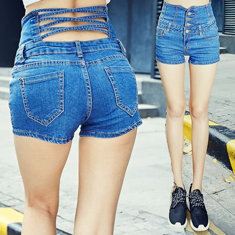 2015 Summer High Waisted Denim Shorts Jeans European Retro Package Hip Hollow Midriff Skinny Denim Shorts Female Sexy Butts