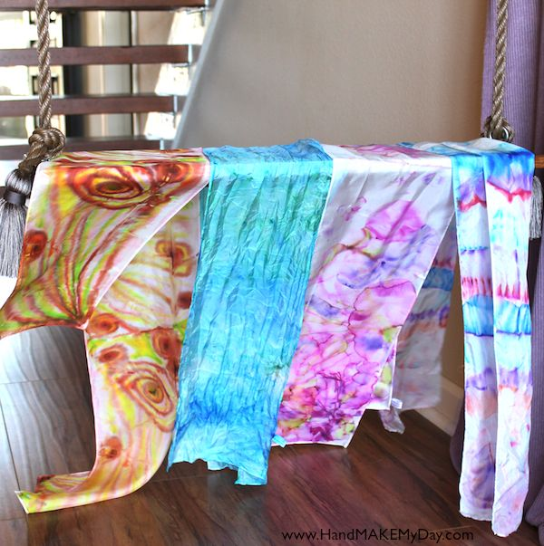 Crafternoon adventures.. Handmade Scarves: Gift, Craft, Art, Rubbing Alcohol, Scarfs, Sharpie Markers, Fabric, Diy, Design