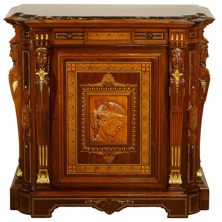luxury wooden furniture storage. Germany/New York Renaissance Revival \u201cportrait\u201d Cabinet 1858 \u2013 1864 Carved Cherry Wood Portrait Plaque, Mahogany, Luxury Wooden Furniture Storage S