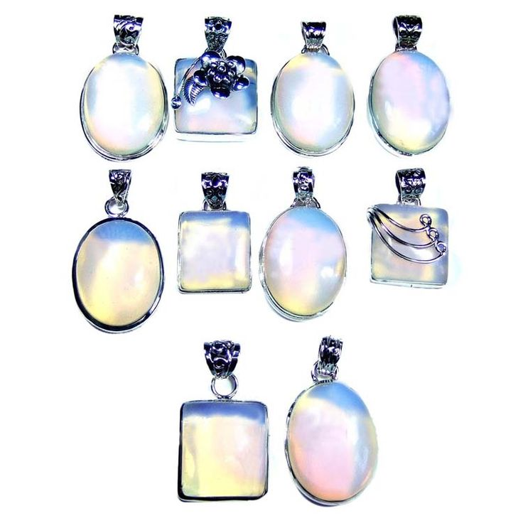 Silver Jewelry Pendants Lot With Opalite Gemstones  Price $USD   225 Weight 250 gms