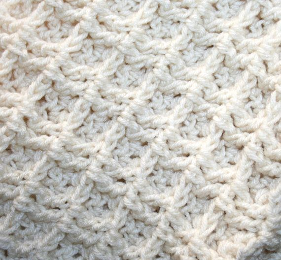 3 D Waffle Crochet Blanket Pattern Thick Cushy by CzechBeaderyShop