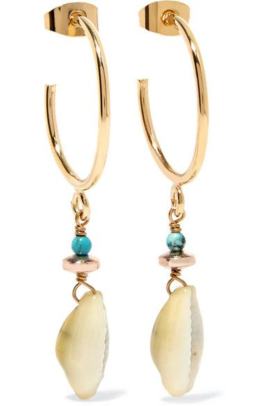278b0795a73 Isabel Marant | Gold-tone bead and shell earrings | NET-A-PORTER.COM ...