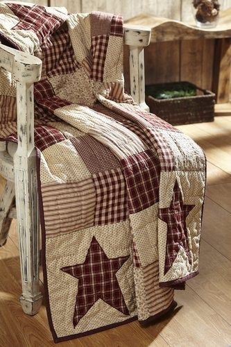 Our Cheston Primitive Star Quilted Throw – Primitive Star Quilt Shop will keep you cozy warm on a chilly night. https://www.primitivestarquiltshop.com/collections/quilted-throws/products/cheston-primitive-star-quilted-throw #primitivequiltedthrows