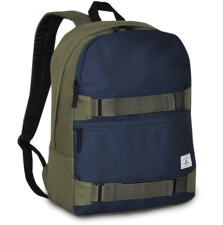 Everest Grip Tape Skateboard Backpack, Olive/Navy, One Size. DESIGN Dual zippered front pockets, padded shoulder straps and dual velcro straps to hold skateboard or any suitable equipment. QUALITY High quality 600D Polyester, professionally weaved seams offer long-lasting use. SPECIFICATIONS Dimensions 17 x 12 x 6.5 inch, capacity 1192 cu in / 19 L, weight 1.0 lbs 2 oz / 0.5 kg.