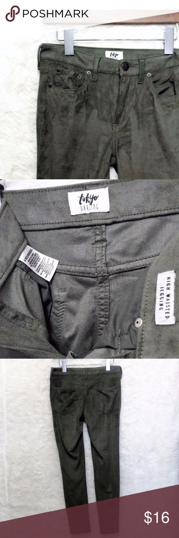 """Tokyo Darling Faux Suede Green High Waist Jegging EUC Soft faux suede material jeggings in a pretty green tone. Super comfy. FAST same day or next business day shipping!  Measurements: Waist 28"""" Inseam 26.5"""" Rise 9"""" Aeropostale Pants Leggings"""