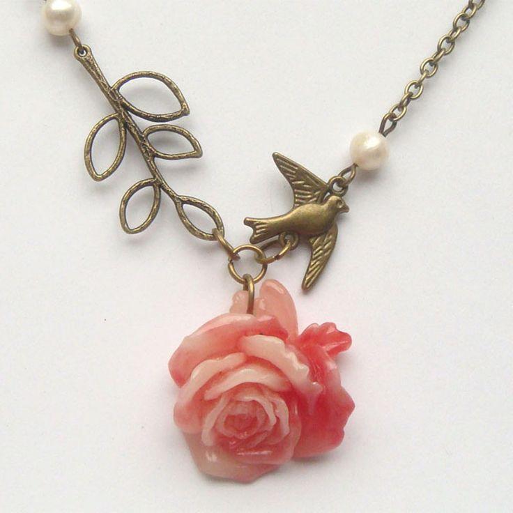 Antiqued Brass Leaf Bird Flower Pearl Necklace