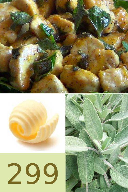 Pollo burro e salvia gustoso e con sole 300 calorie a porzione. www.strabuon.org