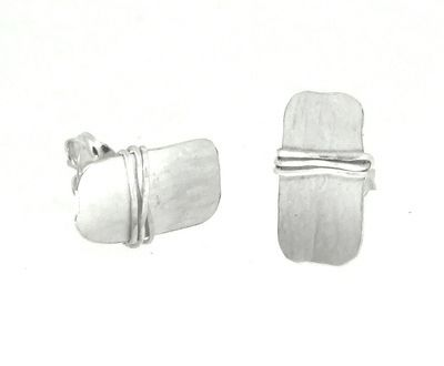 Small rectangular silver earrings with a matt finish.  There is a small piece of wire wrapped three times around one area of the earring.  This gives them an unusual contemporary edge.