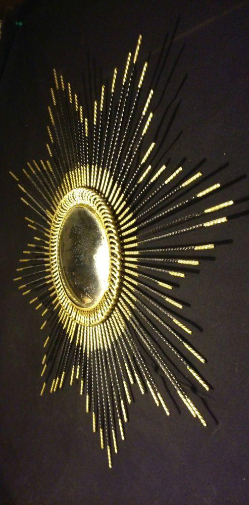 Design 1950/60 Ancien Miroir Soleil verre bombé oeil de Sorcière mercure  58 cms