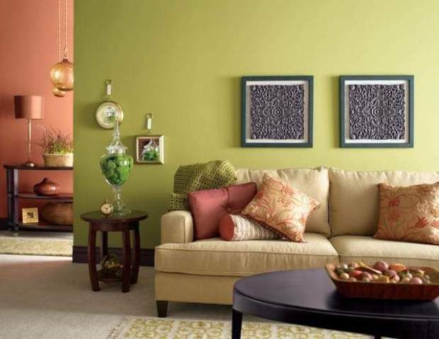 Light warm color for small living room green livingroom Green colour living room