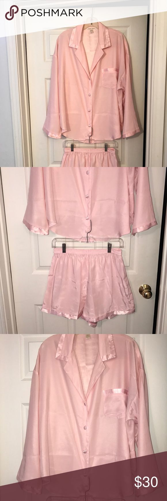 NWOT VS - Beautiful pink pajama short set🎀💓 Top collar and sleeves are trimmed in satin.  Shorts are elastic waistband with satin trim on the legs.  This is such a stunning classy set! Victoria's Secret Intimates & Sleepwear Pajamas