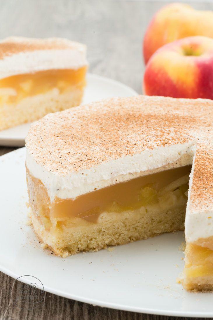 Apfeltorte mit Zimt-Sahne (mit Pudding und Mürbeteig)
