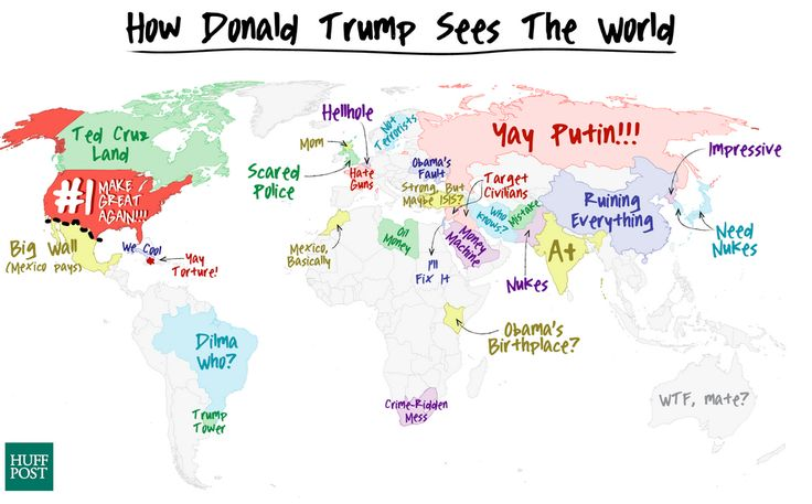 This Map Of Donald Trump's Foreign Policy Would Be Funny If It Weren't So True   HuffPost