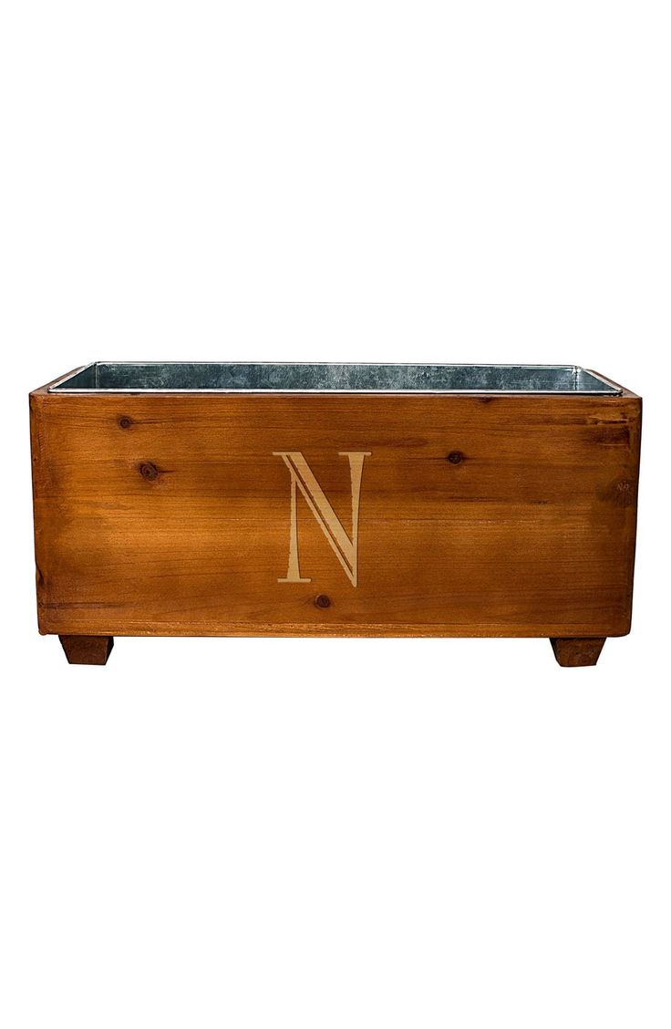 Cathy's Concepts Monogram Wood Wine Trough, Size One Size - Brown