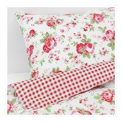 IKEA - ROSALI, Bettwäscheset, 2-teilig, , Zwei verschieden gemusterte Seiten - so lässt sich der Stil im Schlafzimmer nach Geschmack und Stimmung variieren.Baumwolle ist hautsympathisch und weich.
