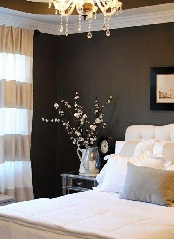 schlafzimmer gardinen gardinendekoration beispiele gold und weiß ...