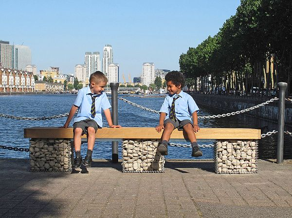 Elements bench seat with gabion baskets - http://www.furnitubes.com/seating/steel-timber-seating/elements-bench-seat-with-gabion-baskets