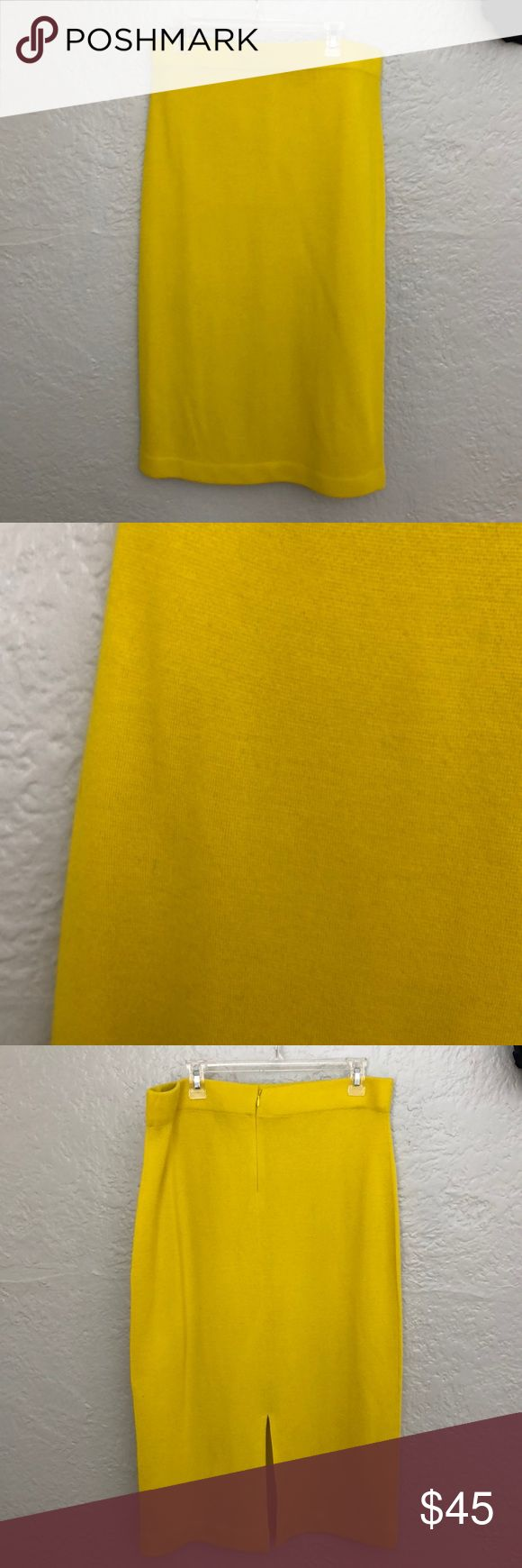 """J. Crew yellow sweater skirt Worn once. 100% wool. Zipper in the back. There is no lining. Gorgeous bright color and warm. It is just a bit more fitted than I normally wear. No imperfections.  Waist 36"""" Length 33"""" Hips 42"""" J. Crew Skirts Pencil"""