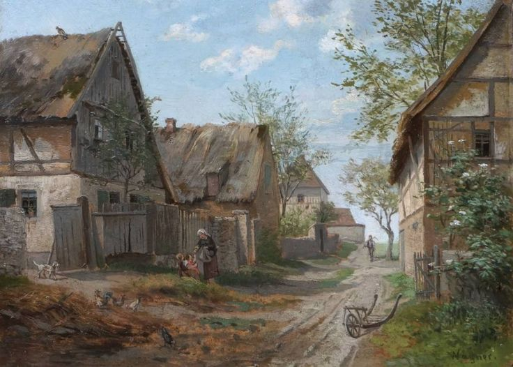 "✨  signiert Wagner  - Dorfstraße, ca. 1860, Öl/Karton, 22,5 x 30,5 cm, sign. u. r. ""Wagner."" ::: Village street, oil on board"