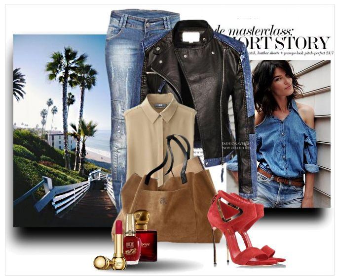 Stylizacja kurtka damska ramoneska skóra jeans na wiosnę i lato najmodniejsza model #101 w sklepie fashionavenue.pl