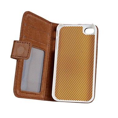 Couleur unie/Design spécial/Autre/Cuir - Coque avec Support/Etuis du corps entier/Autre/Wallet Case - pour iPhone 4/4S/iPhone 4 ( Noir/Brun ,Cuir – EUR € 15.19