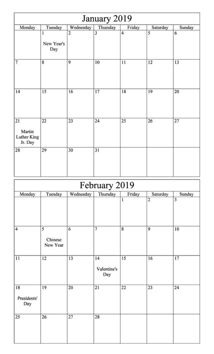 january february 2019 calendar with holiday
