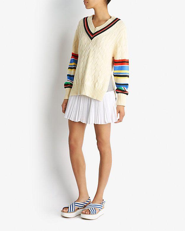 Preen by Thornton Bregazzi Varsity Striped V Neck Sweater | Shop IntermixOnline.com