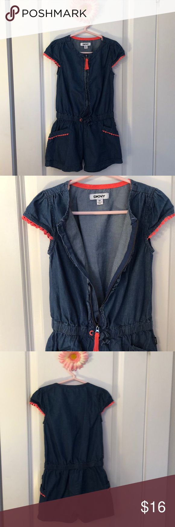 DKNY GIRLS DENIM ONE PIECE JUMPER 4T HALF ZIP Gorgeous 100% cotton half zip jump with full elastic waist. Hot pink lace details around cap sleeve arms and pockets. Would be great for school, spring, summer, or dressed up for a more formal occasion. Looks great with sneakers or sandals. Girls 4T. Dkny One Pieces Bodysuits